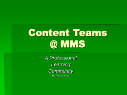 Content Teams @ MMS