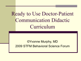 Ready to Use Doctor-Patient Communication Didactic …