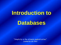 Introduction to Databases - University of Western Ontario