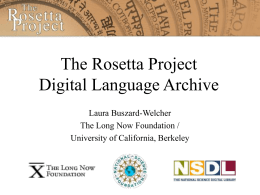 The Rosetta Project: ALL Language Archive and the Impact