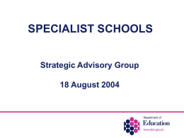 SPECIALIST SCHOOLS - Department of Education