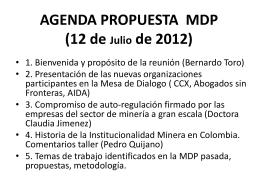 AGENDA PROPUESTA MDP (12 de Julio de 2012)