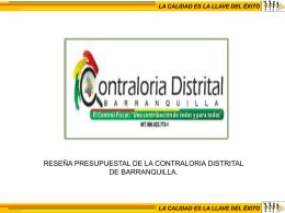 Diapositiva 1 - - Contraloria Distrital de Barranquilla