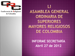 LI ASAMBLEA general ordinaria de superiores mayores