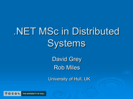 .NET MSc in Distributed Systems