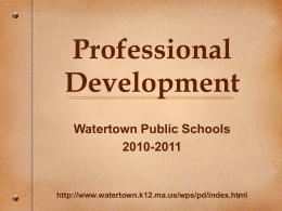 PowerPoint Presentation - Professional Development