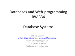 Databases and Web-programming RW 334 Database …