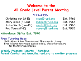 Welcome to the All Grade Level Parent Meeting
