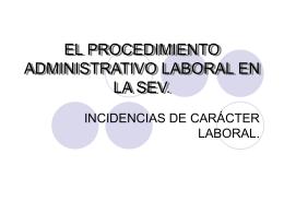 EL PROCEDIMIENTO ADMINISTRATIVO LABORAL EN LA SEV.