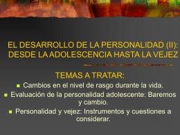 EL DESARROLLO DE LA PERSONALIDAD (I): DESDE LA