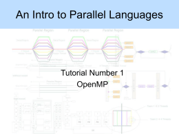An Intro to Parallel Languages