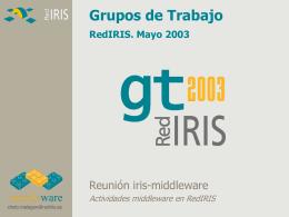 Grupos de Trabajo RedIRIS. Mayo 2003