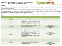 VII TALLER INTERNACIONAL DE AGRICULTURA ORGANICA …
