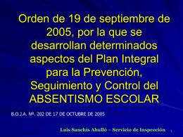 Orden de 19 de septiembre de 2005, por la que se