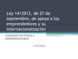 Ley 14/2013, de 27 de septiembre, de apoyo a los