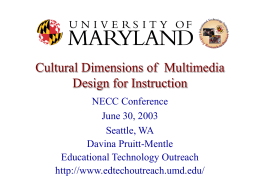 Cultural Dimensions of Multimedia Design for Insturction