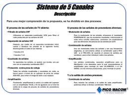 Sistemas de 5, 10, 15 y 20 Canales