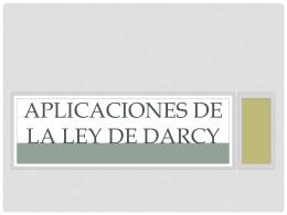 APLICACIONES DE LA LEY DE DARCY