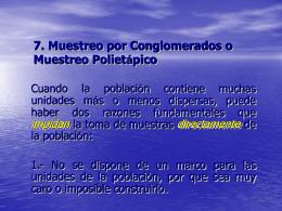 7. MUESTREO POR CONGLOMERADOS O MUESTREO …
