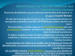 INSCRIPCIONES PSU PROCESO ADMISION 2013
