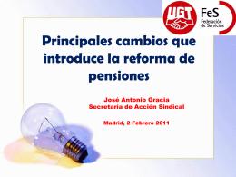 Principales cambios que introduce la reforma de pensiones