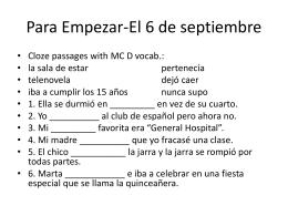 Para Empezar-El 6 de septiembre