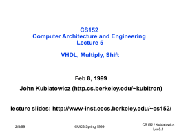 Computer Architecture and Engineering Lecture 6: The