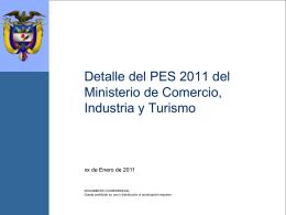 Detalle del PES 2011 del Ministerio de Comercio, Industria