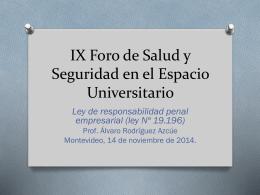 IX Foro de Salud y Seguridad en el Espacio Universitario