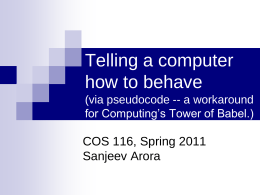 Telling a computer how to behave (via pseudocode -