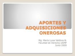 APORTES Y ADQUISICIONES ONEROSAS
