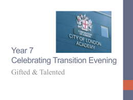 Year 7 Celebrating Transition Evening