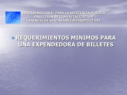 REQUERIMENTOS PARA UNA EXPENDEDORA DE BILLETES …