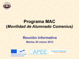 Programa MAC (Movilidad de Alumnado Comenius)