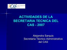 ACTIVIDADES DE LA SECRETARIA TECNICA DEL CAS