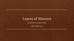 Leaves of Absence - Tulare County Education Office