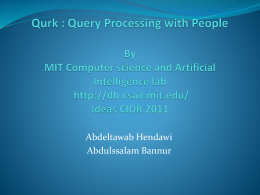 Qurk Database: Query Processing with People