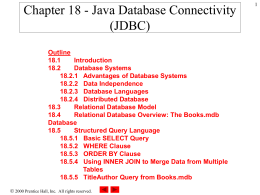Chapter 18 - Java Database Connectivity (JDBC)