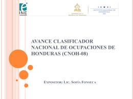 Avance Clasificador Nacional de Ocupaciones de Honduras