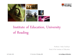 Welcome to the Institute of Education, University of Reading