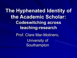 The hyphenated identity of the Academic Scholar