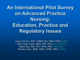 A Pilot Survey on Advanced Practice Nursing: Education