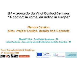 "LLP – Leonardo da Vinci Contact Seminar ""A contact in …"