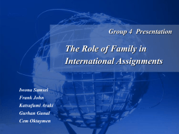 Role of Family in IHRM - San Francisco State University