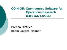 COIN-OR: Open-source software for Operations Research