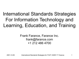 Some Highlights Of International Standardization In E …