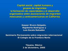 Capital social, capital humano y grupos de migrantes: la