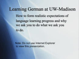 PowerPoint Presentation - Learning German at UW …
