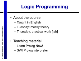 Learn Prolog Now, lecture 1