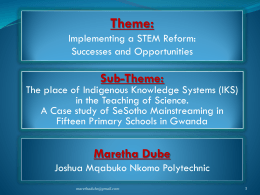 Theme: Implementing a STEM Reform: Successes and …